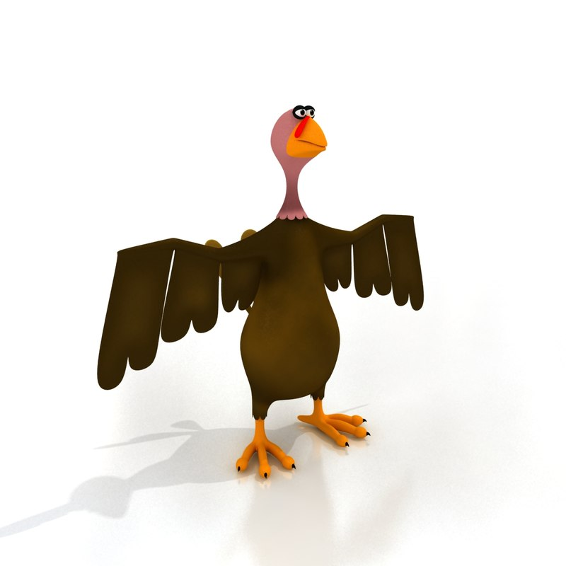 maya cartoon turkey rigged birds