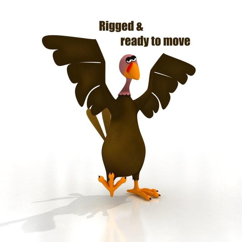 maya cartoon turkey rigged birds