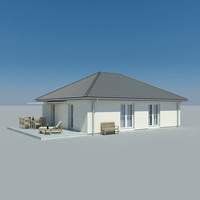 photoreal bungalow 3d model
