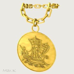 3d gold medallion