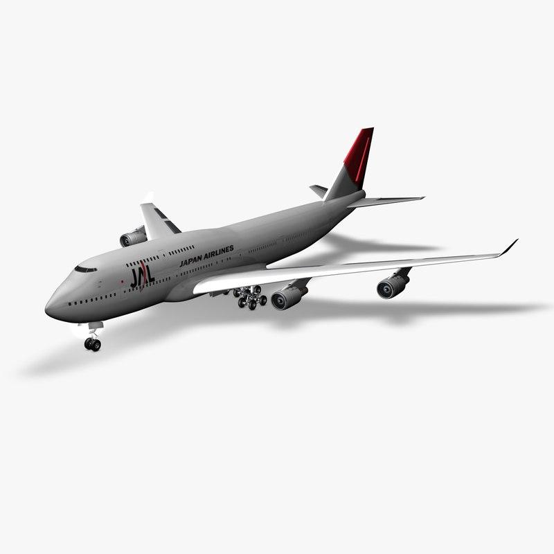 boeing 747 jal 3d model