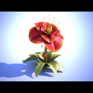3d red flower
