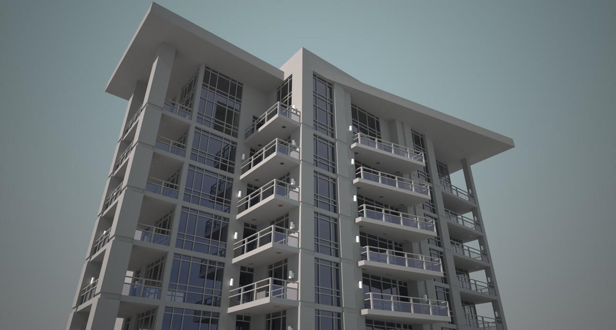 3d large 65 story apartment model