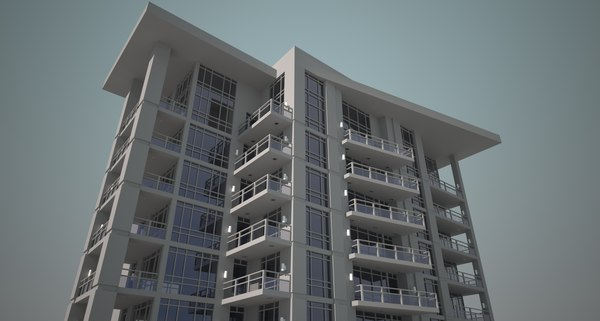 3d large 65 story apartment model