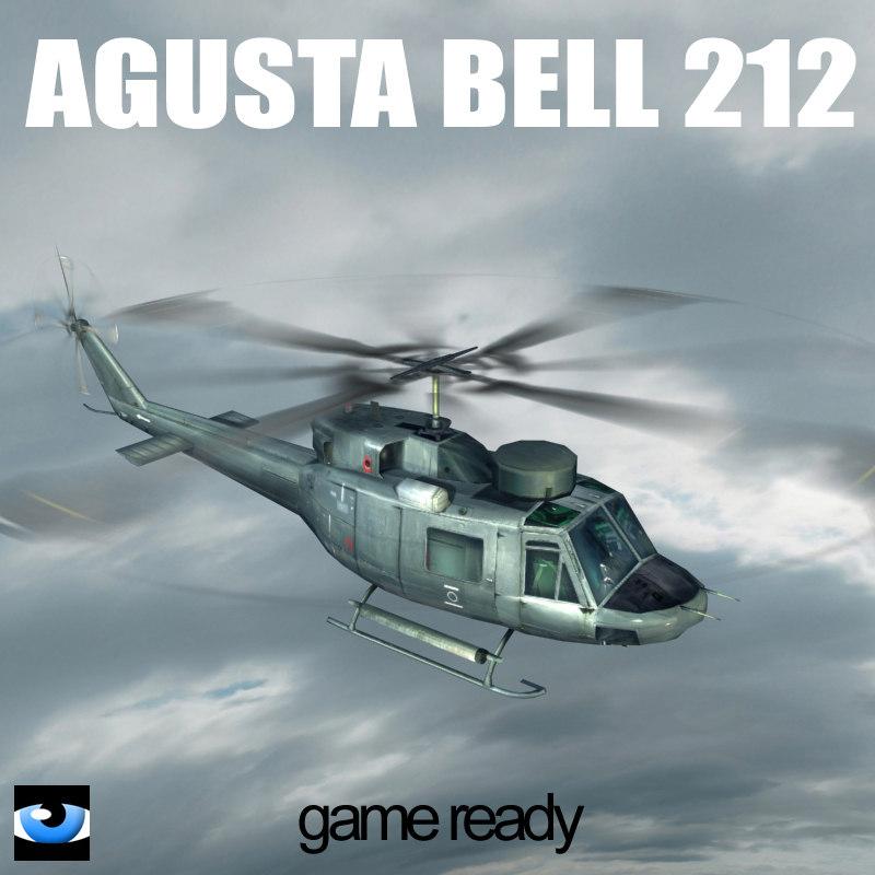 bell 212 navy translucent 3d model