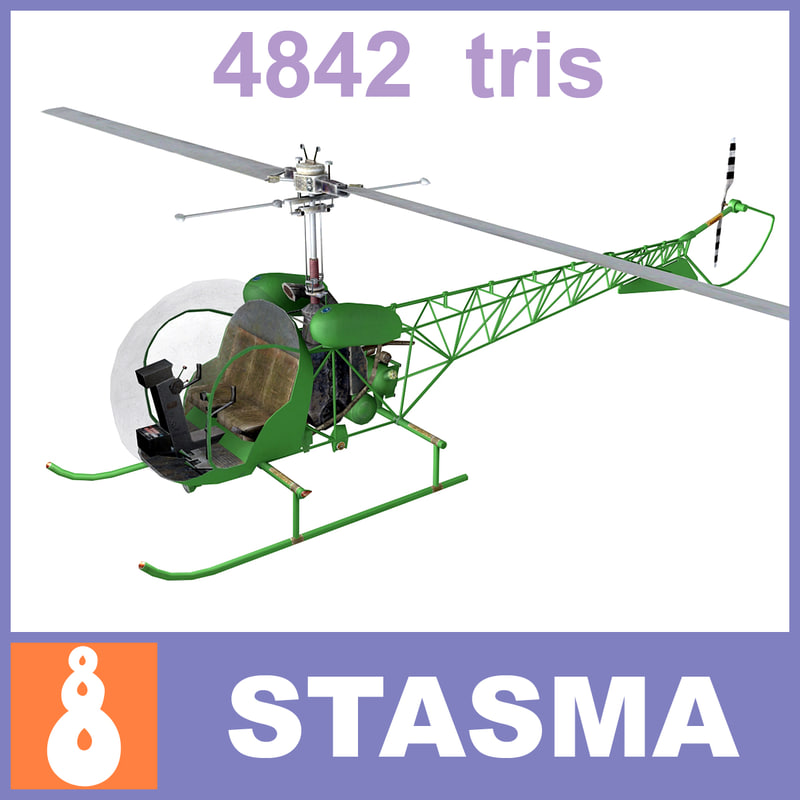 3d helicopter bell 47