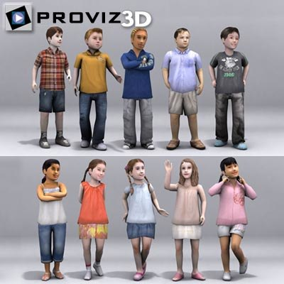 people children 3d model