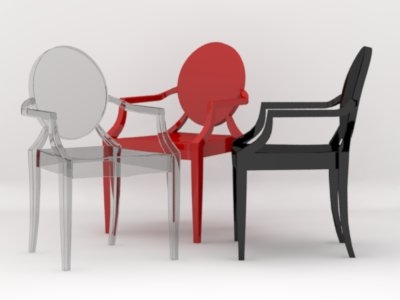 stark louis ghost chair 3d 3ds