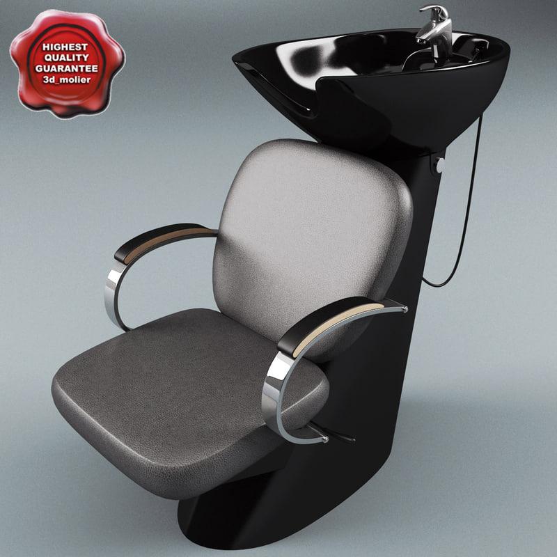 3d model salon wash point