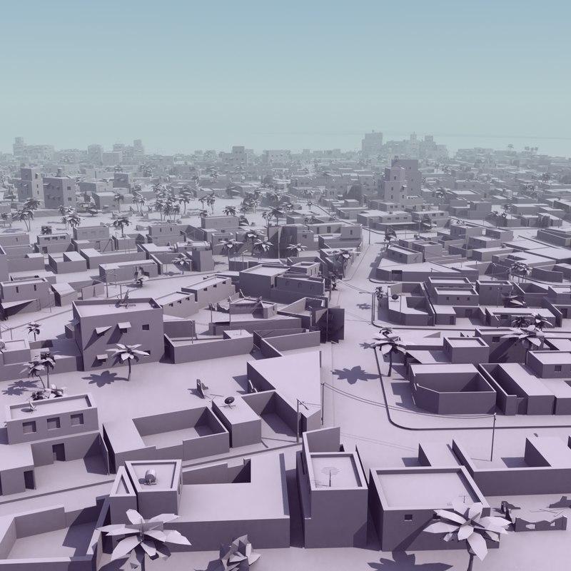 3ds max arab city suburb mass