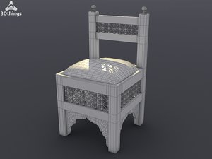 3d model small wooden chair