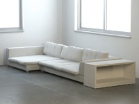 Photorealistic Modern Sofa with bookcase