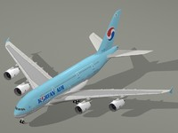 airbus a380-800 korean air a380 3d model