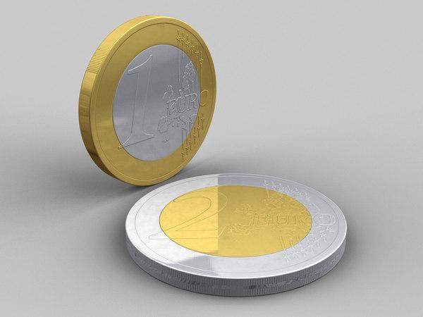 3d model euro coins