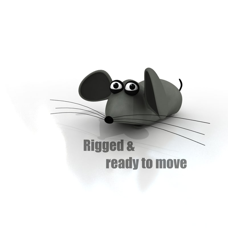 cartoon mouse rigged 3d max