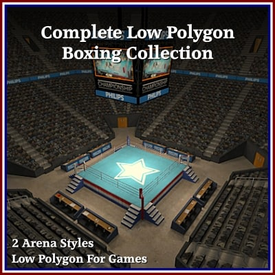 3d model of complete boxing arena