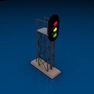 3 light signal 3d model