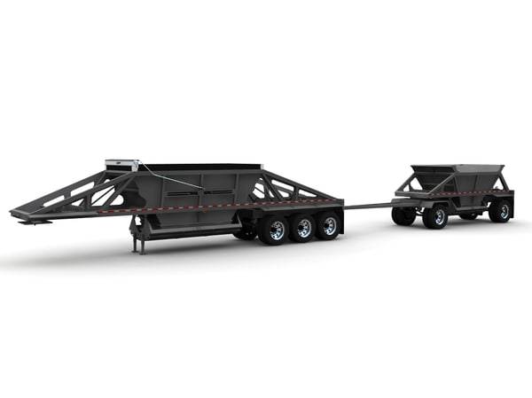 3d model trailers belly dump trail