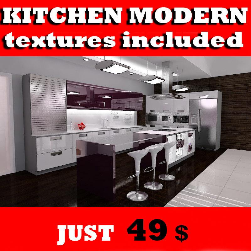 3d model kitchen designed lighting