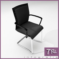3d model office chair visitor