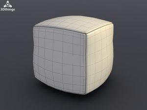 cube leather pouffe 3d model