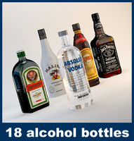 18 alcohol bottles 3d max