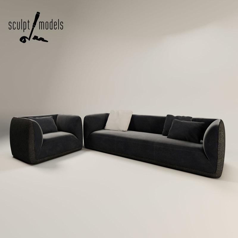 fashion supersoft suite sofa armchair 3d max