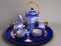coffee tea set 3d obj
