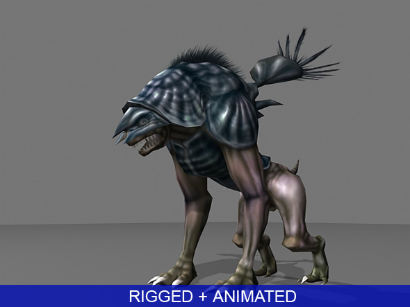 3d low-poly alien monster animation model