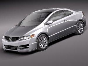 honda civic coupe 2011 3d model