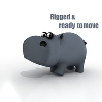 3ds max cartoon hippo rigged
