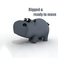 3ds max cartoon hippo rigged