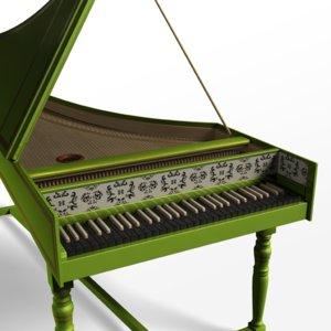 baroque harpsichord obj
