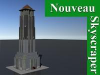 3d model skyscraper nouveau