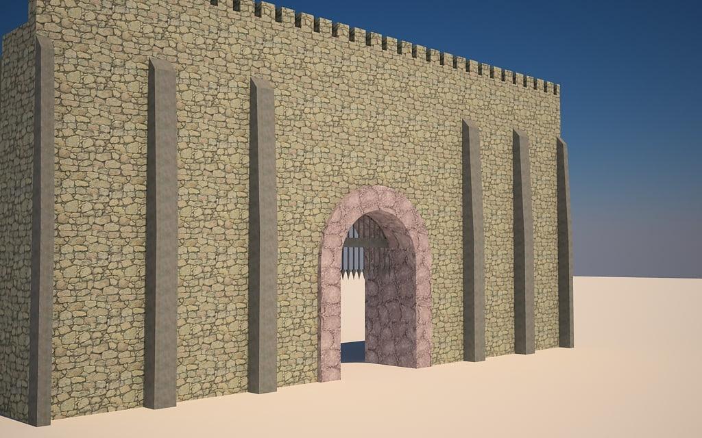 3d medievil castle walls model