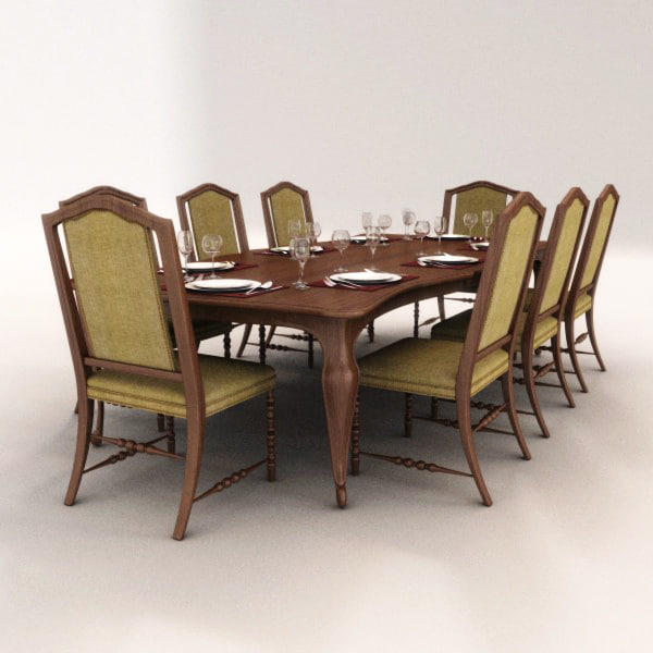 dining set chairs table 3d model