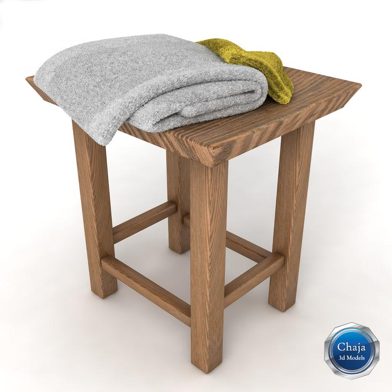 3d model of towel rack chair