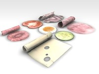 3ds max food ham cheese appetizer