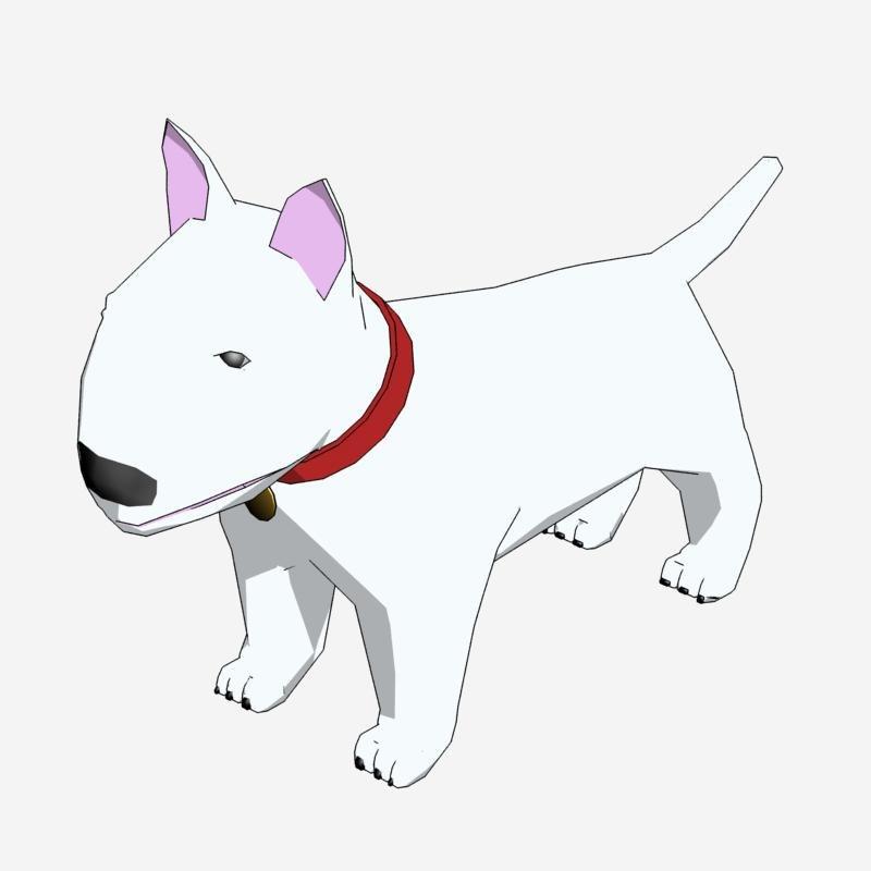 3d model cartoon bull terrier rendered