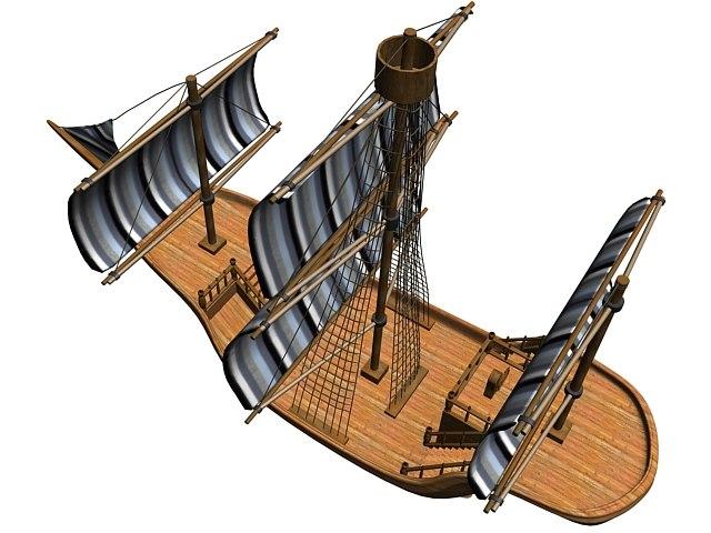 old wooden sailboat 3d max