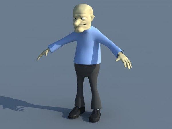 free obj model cartoon character old man