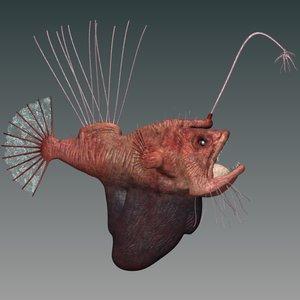 hairy angler fish obj