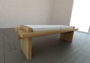 3d model bench wood