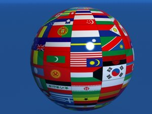 earth globe country flags 3d model
