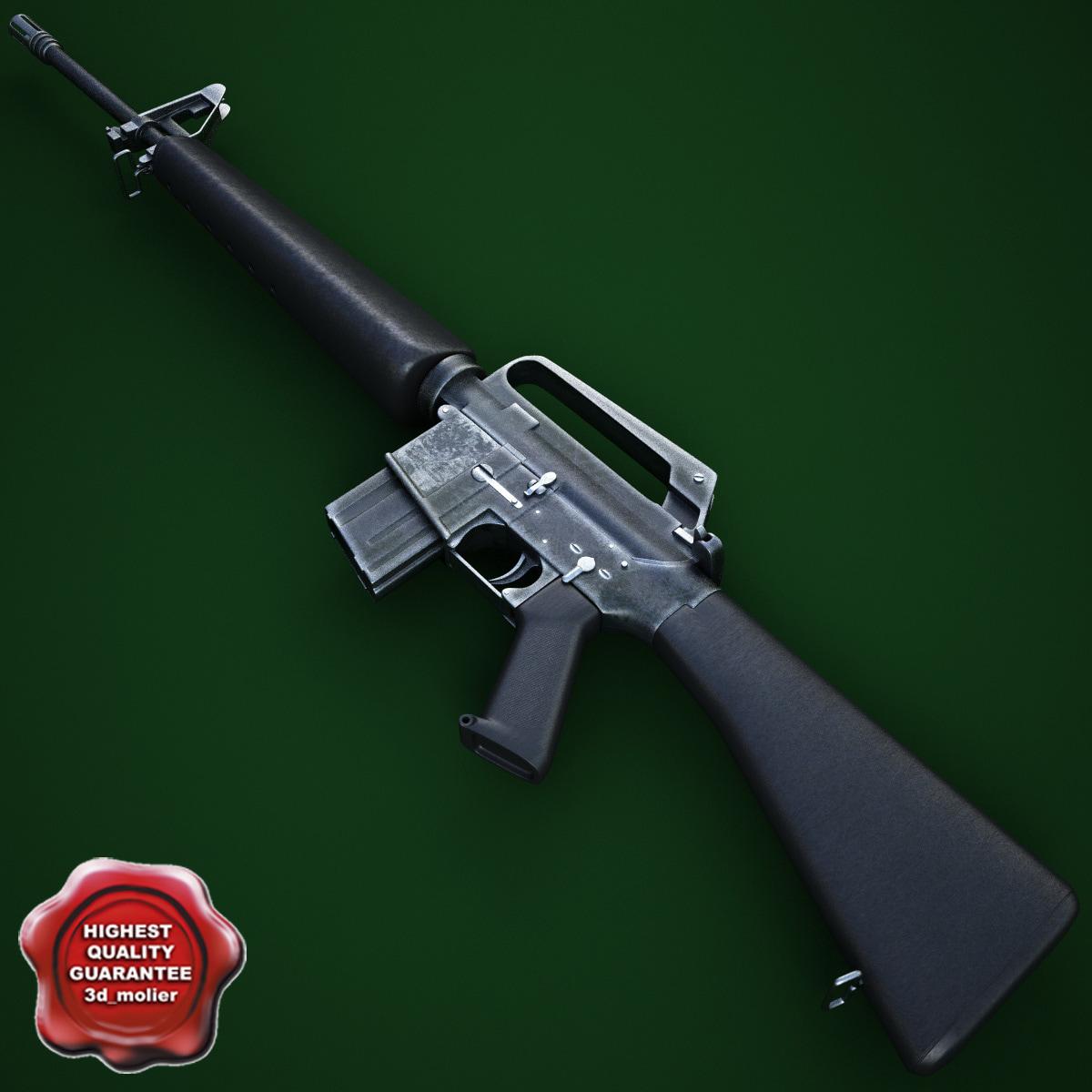 3d model of m16a1 assault rifle