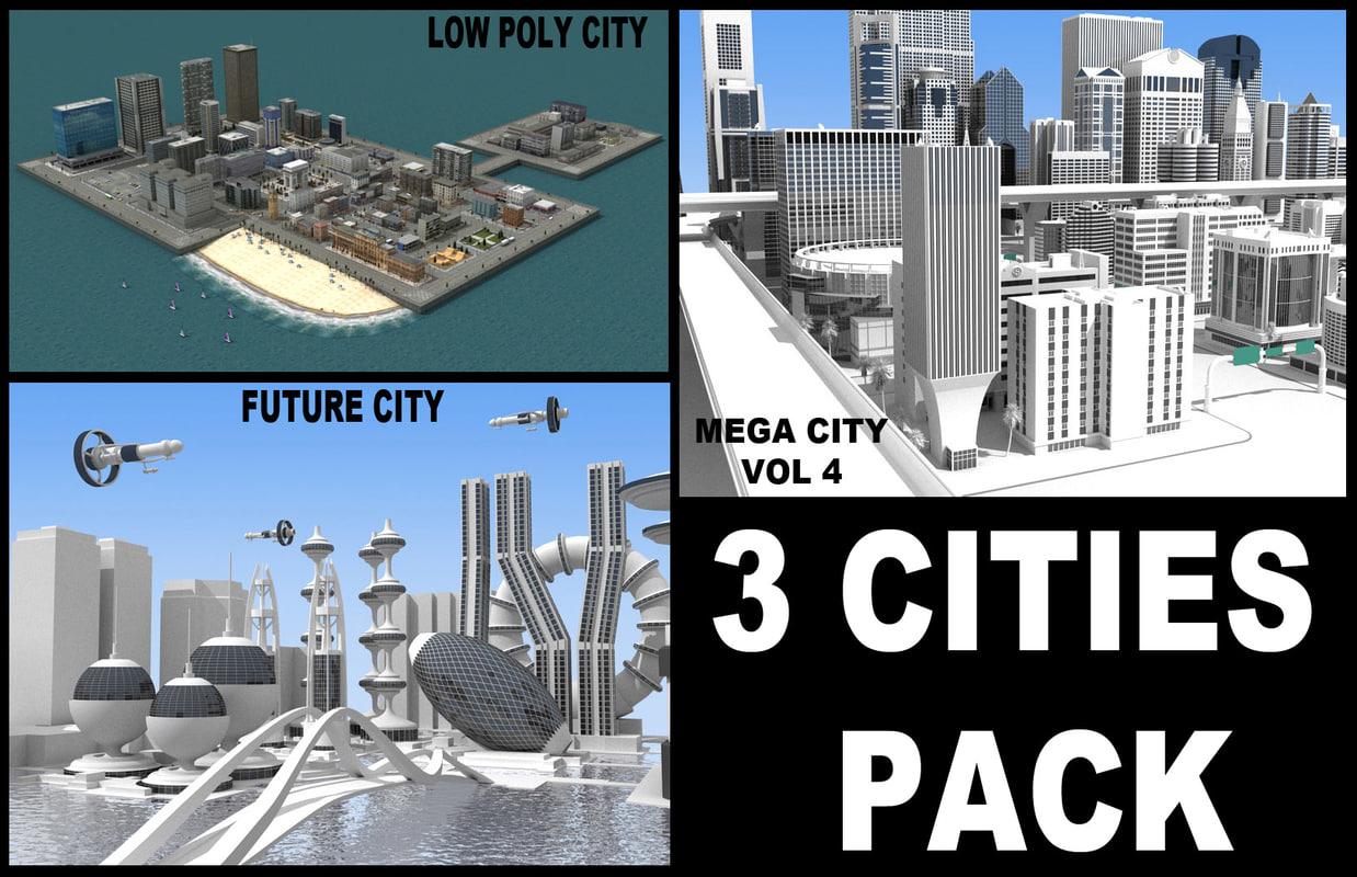 3d pack 3 cities model