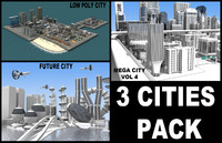 pack 3 cities buildings skyscrapers 3d ma