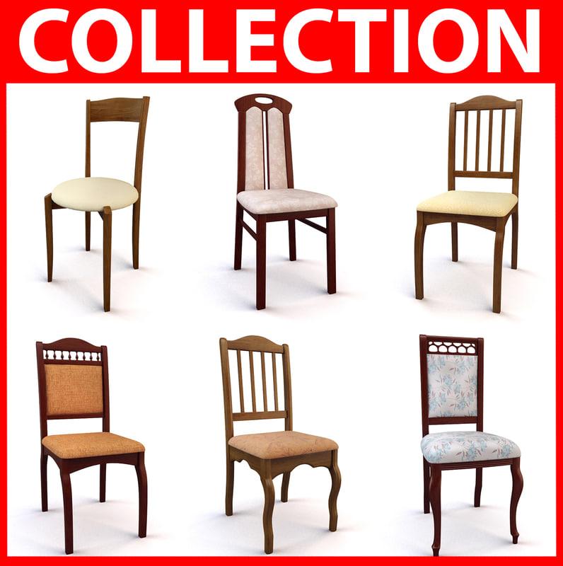 3d model set classic chairs