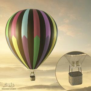 3d model air balloon basket resolution