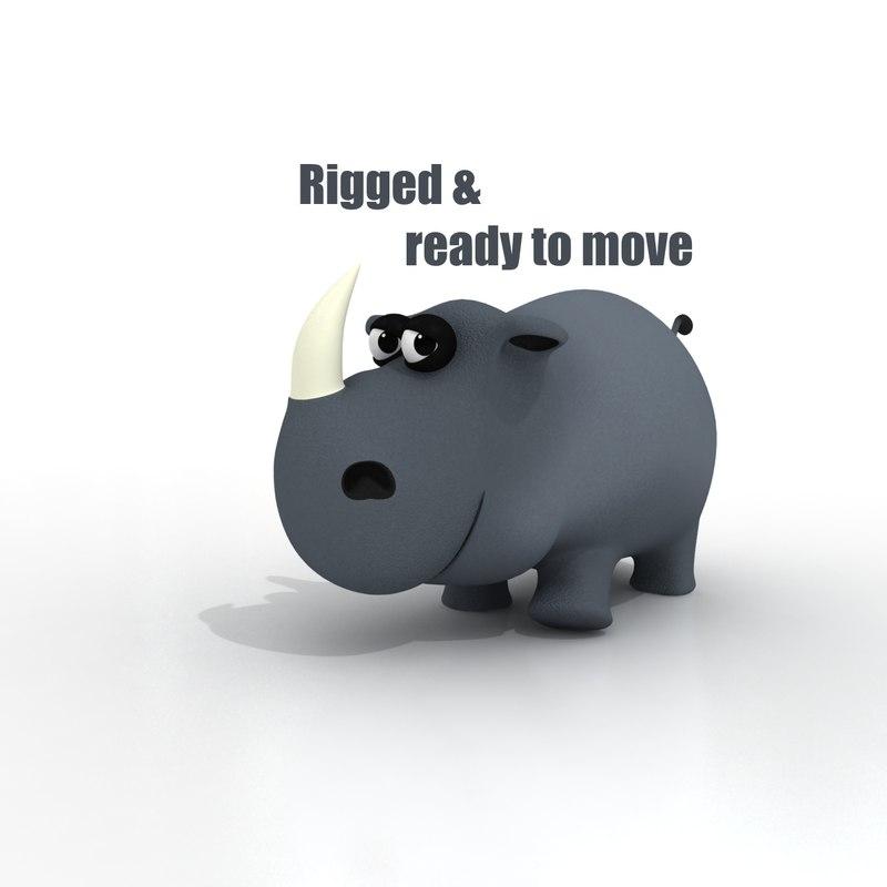 3d model cartoon rhino rigged